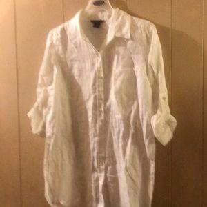 White linen beach shirt